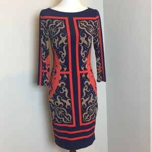 Cache red navy and tan scarf dress